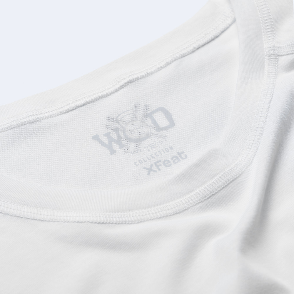 CrossFit t-shirt for men from recycled materials XFeat In Wod We Trust label grey