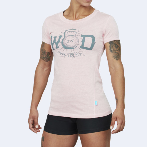 CrossFit t-shirt for women from recycled materials XFeat In Wod We Trust light pink & grey shop