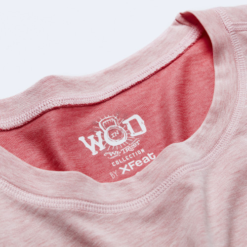 CrossFit t-shirt for women from recycled materials XFeat In Wod We Trust label white