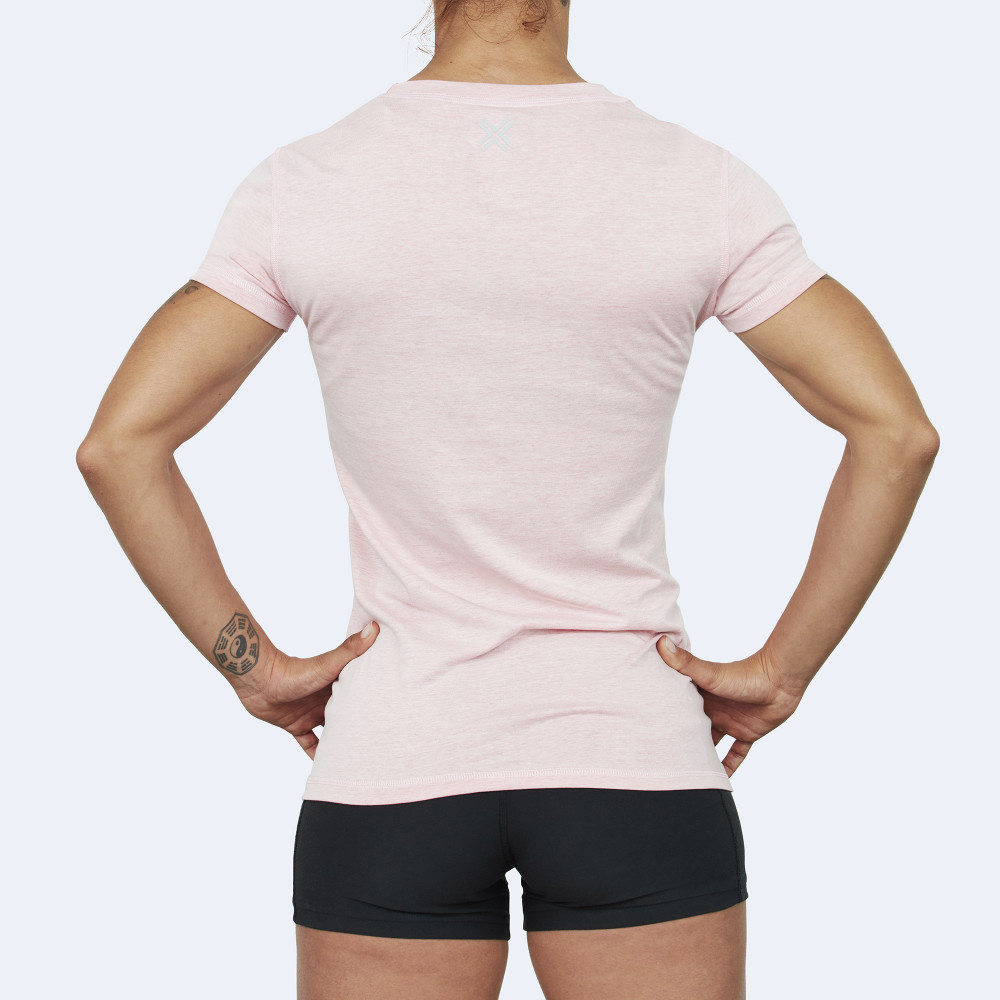 CrossFit t-shirt for women from recycled materials XFeat Unbreakable light pink back