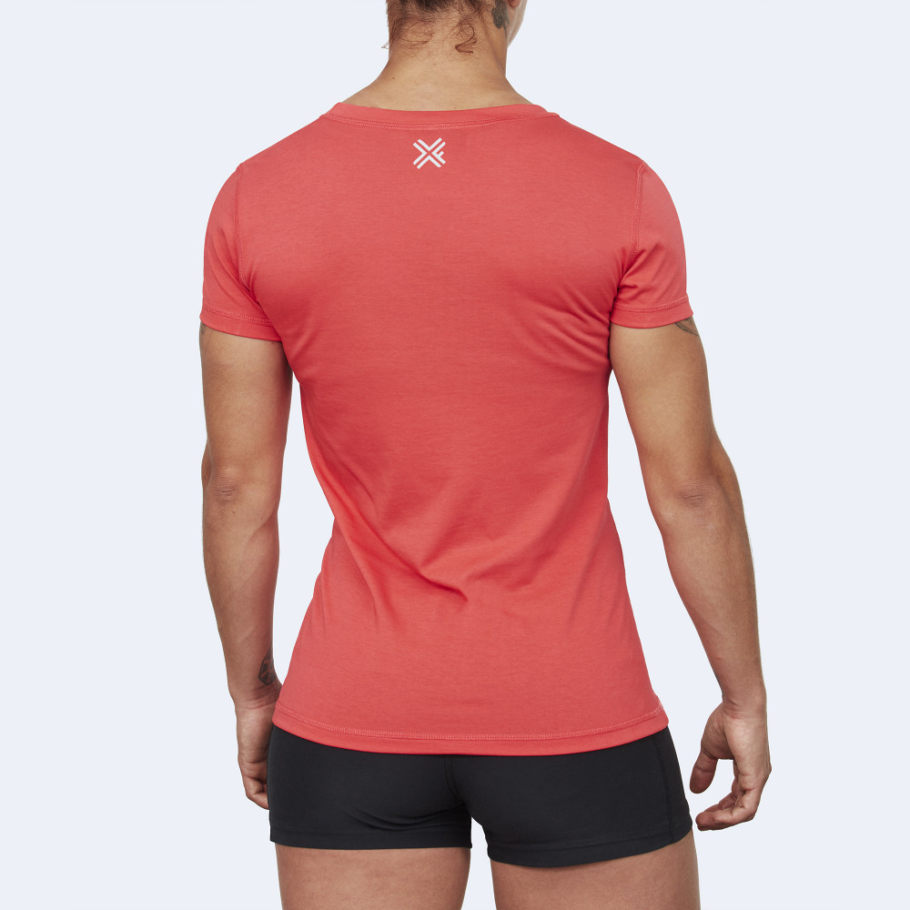 CrossFit t-shirt for women from recycled materials XFeat Burpees red back