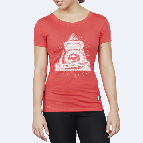 CrossFit t-shirt for women from recycled materials XFeat The Eye red & white shop