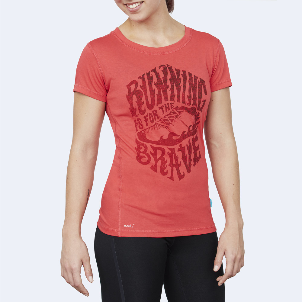 CrossFit t-shirt for women from recycled materials XFeat Running Is For The Brave red & dark red front