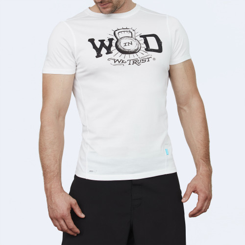 CrossFit t-shirt for men from recycled materials XFeat In Wod We Trust white & black shop
