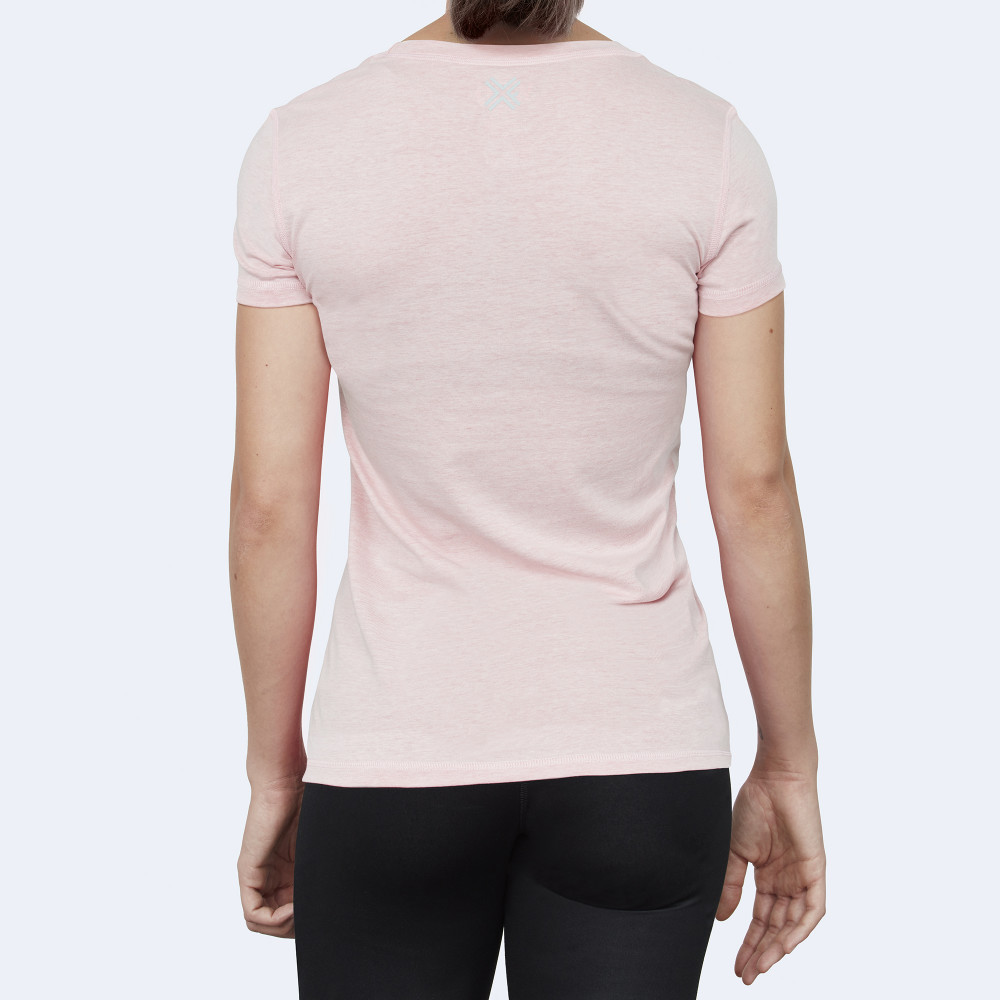 CrossFit t-shirt for women from recycled materials XFeat No Challenge No Feat light light pink back