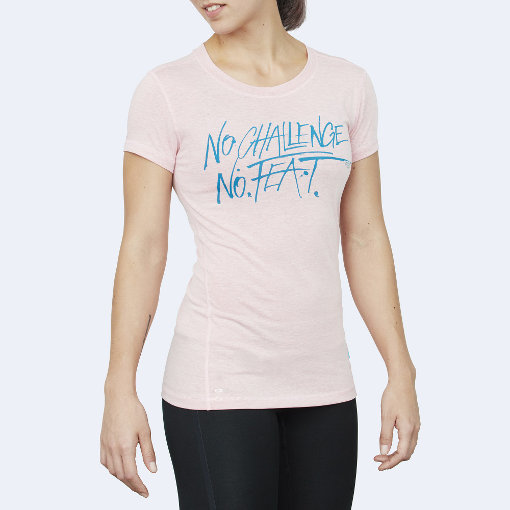 CrossFit t-shirt for women from recycled materials XFeat No Challenge No Feat light pink & aqua blue front