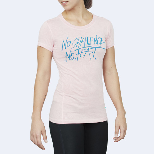 CrossFit t-shirt for women from recycled materials XFeat No Challenge No Feat light pink & aqua blue shop