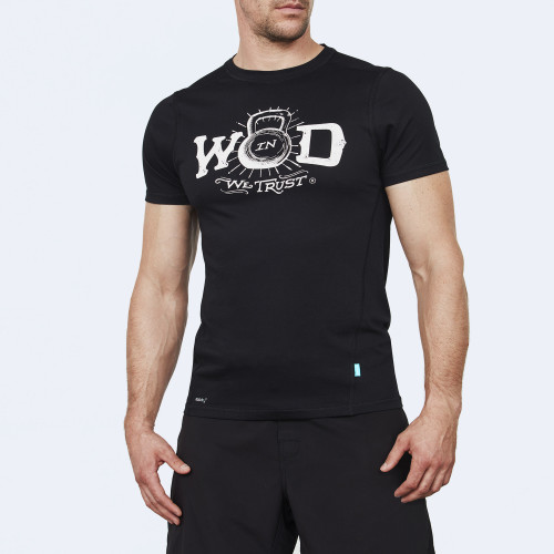 CrossFit t-shirt for men from recycled materials XFeat In Wod We Trust black & white front