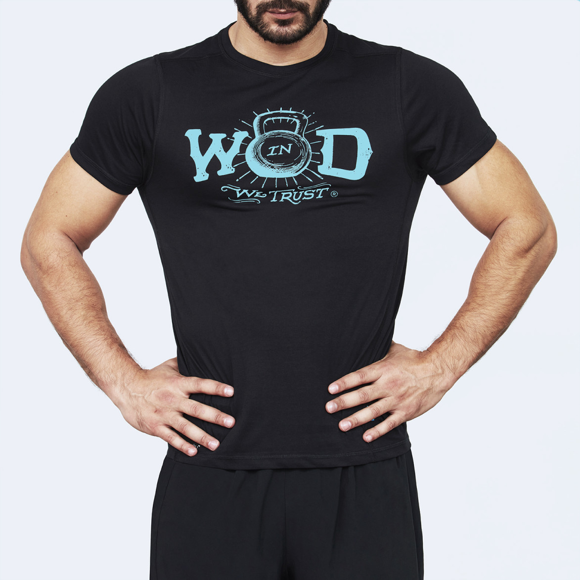 CrossFit t-shirt for men from recycled materials XFeat In Wod We Trust black & blue front