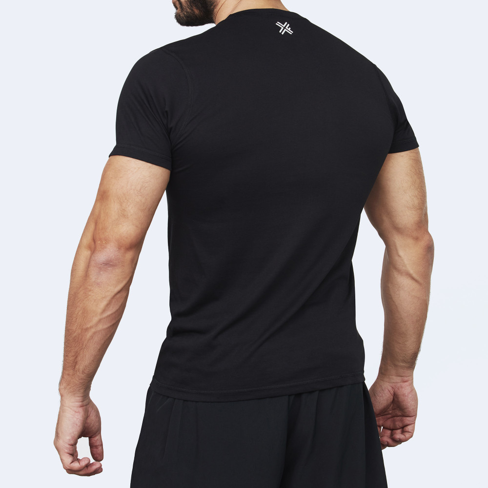 CrossFit t-shirt for men from recycled materials XFeat In Wod We Trust black back