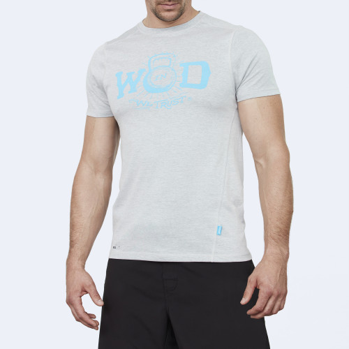 CrossFit t-shirt for men from recycled materials XFeat In Wod We Trust grey & light blue shop