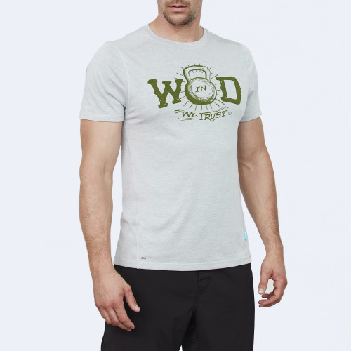 CrossFit t-shirt for men from recycled materials XFeat In Wod We Trust grey & military green shop
