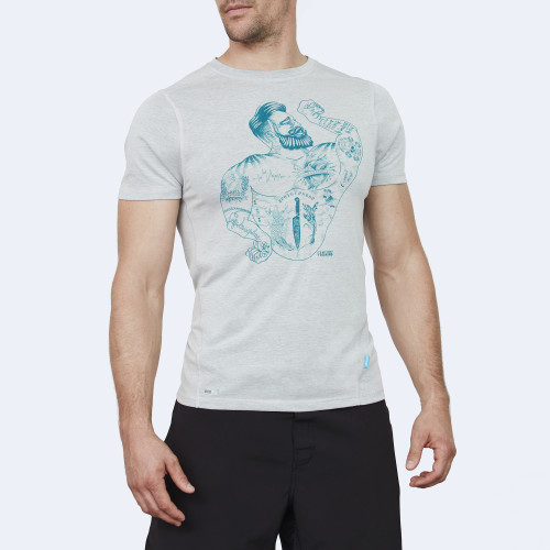 CrossFit t-shirt for men from recycled materials XFeat Strongman grey & ocean green front
