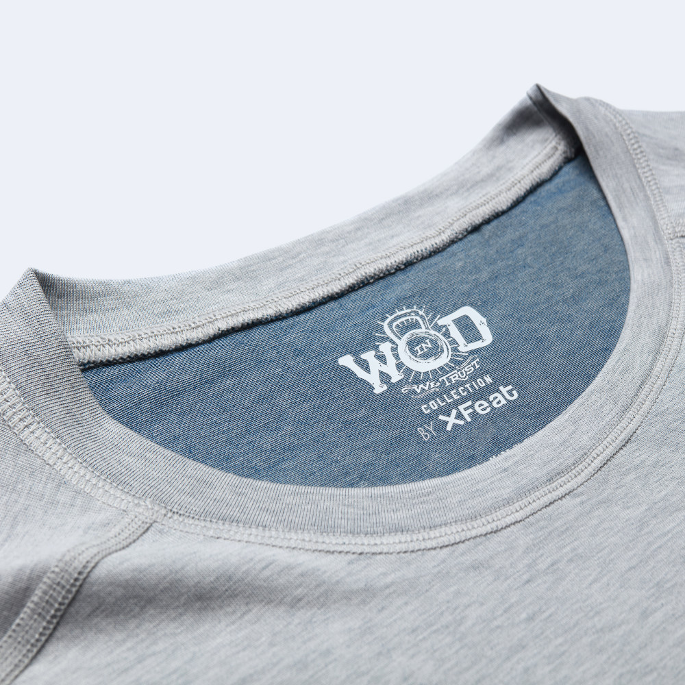 CrossFit t-shirt for men from recycled materials XFeat In Wod We Trust label white