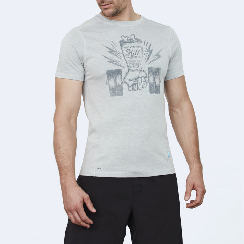 CrossFit t-shirt for men from recycled materials XFeat Hand grey & dark grey front