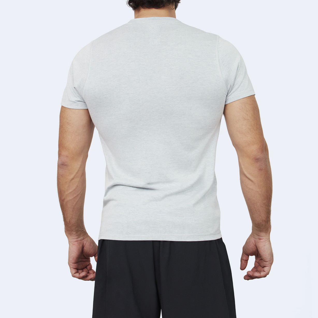 CrossFit t-shirt for men from recycled materials XFeat No Challenge No Feat grey back
