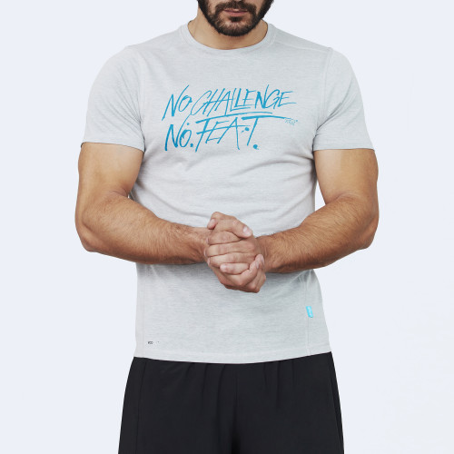 CrossFit t-shirt for men from recycled materials XFeat No Challenge No Feat grey & aqua blue front
