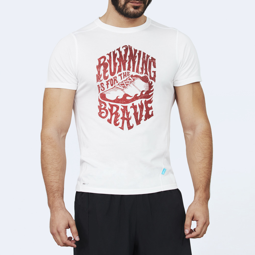 CrossFit t-shirt for men from recycled materials XFeat Running Is For The Brave white & dark red front