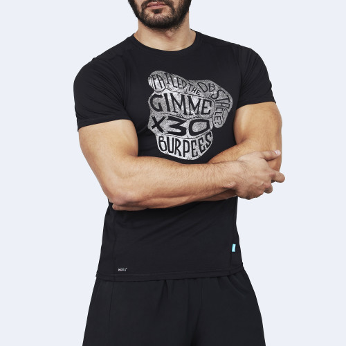 CrossFit t-shirt for men from recycled materials XFeat Burpees black & white front