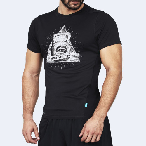 CrossFit t-shirt for men from recycled materials XFeat The Eye black & white front