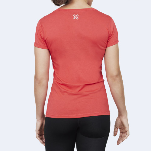 CrossFit t-shirt for women from recycled materials XFeat In Wod We Trust red back