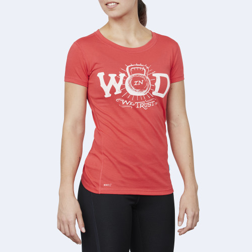 CrossFit t-shirt for women from recycled materials XFeat In Wod We Trust red & white front