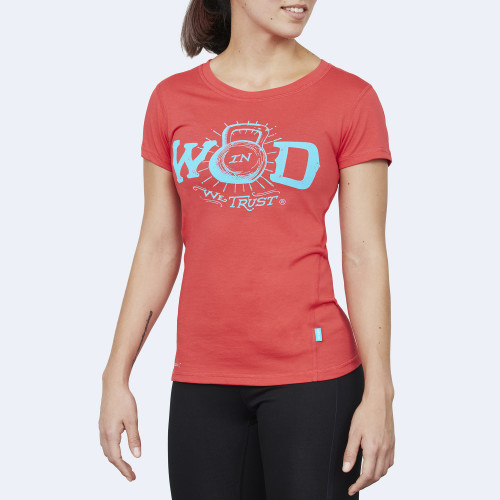 CrossFit t-shirt for women from recycled materials XFeat In Wod We Trust red & electric blue front