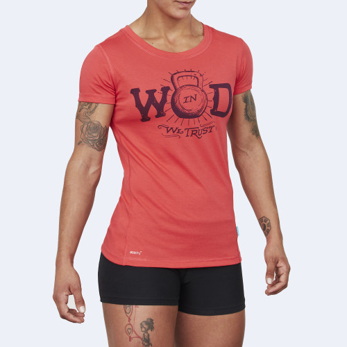 CrossFit t-shirt for women from recycled materials XFeat In Wod We Trust red & violet shop